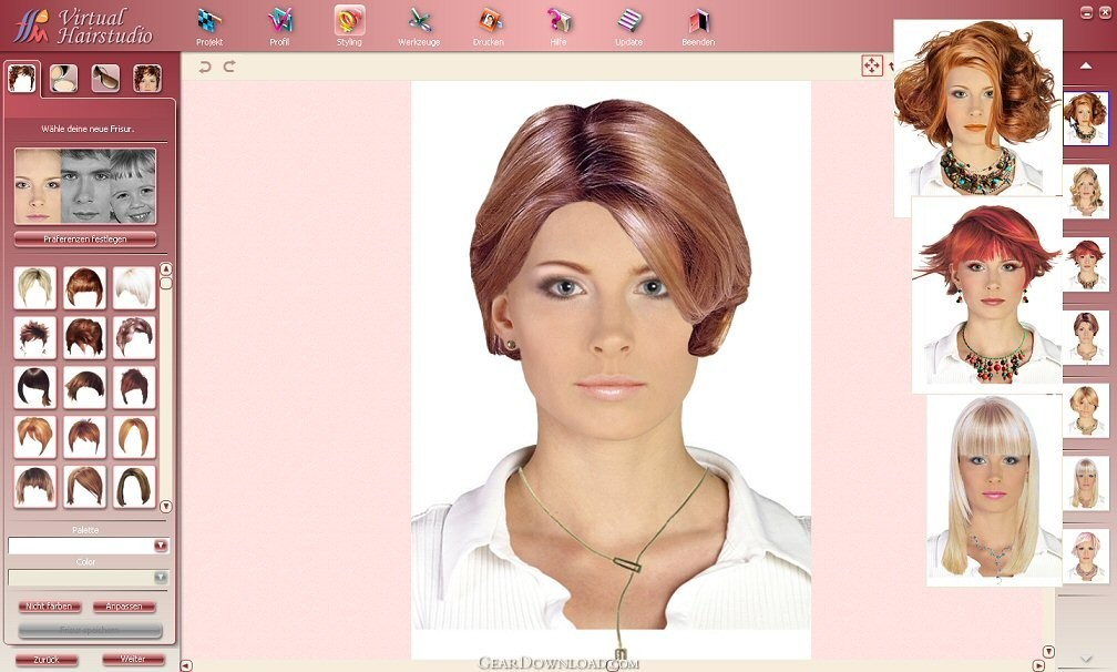Virtual Hairstyle This is a free virtual hairstyle site.