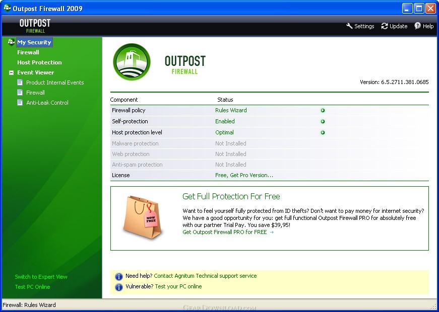 Outpost Firewall 2009 Pro 6.5.4.2525 + Ключи рабочий 100% 2009 года.