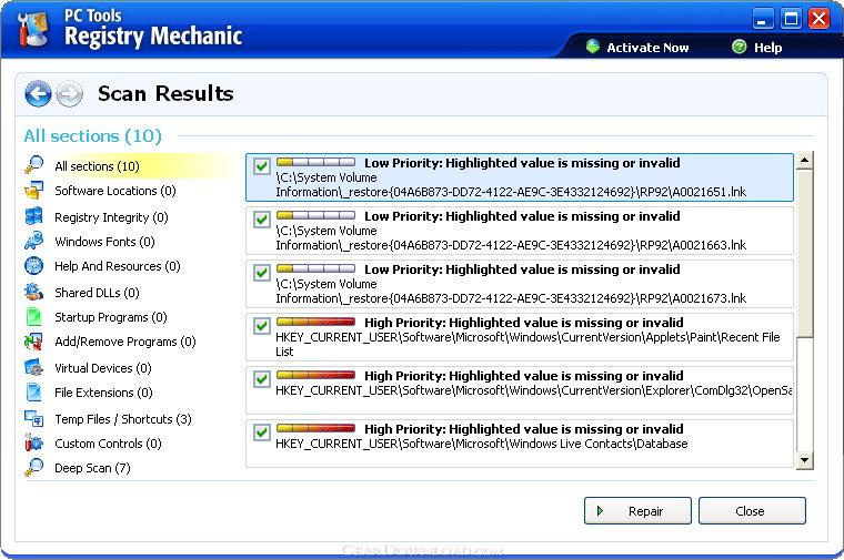 PC Tools Registry Mechanic 2011 Information.
