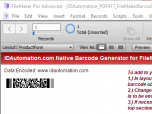 PDF417 Filemaker Barcode Generator Screenshot