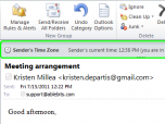 Sender's Time Zone for Outlook